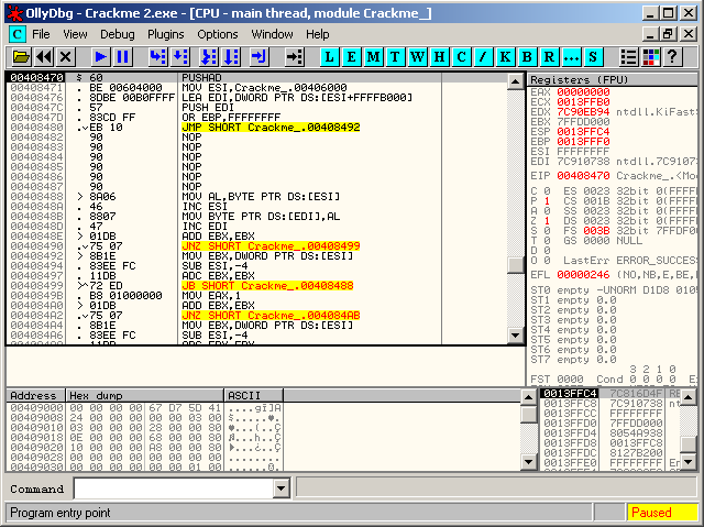 PUSHAD. OllyDBG breakpoints at the Entry Point (EP) of crackme2.exe.